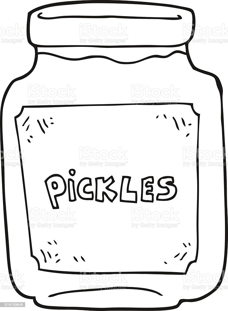 Black And White Cartoon Pickle Jar stock vector art 519133648 | iStock