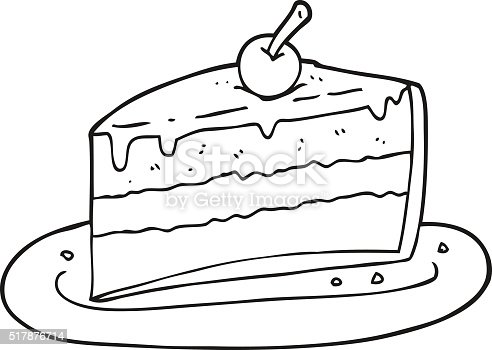 Cake Clipart Black And White : Black And White Cartoon Slice Of Cake stock vector art ...
