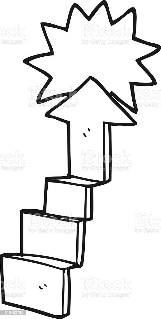 black and white cartoon stepping up arrow vector art illustration