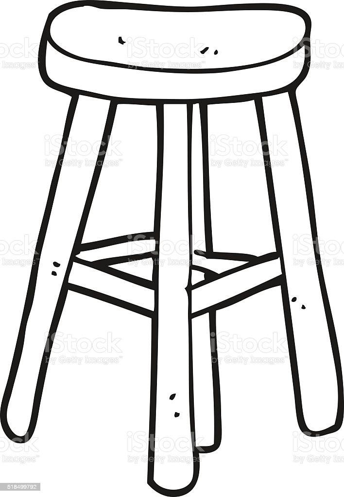 Tabouret De Dessin Anim 233 Noir Et Blanc Stock Vecteur