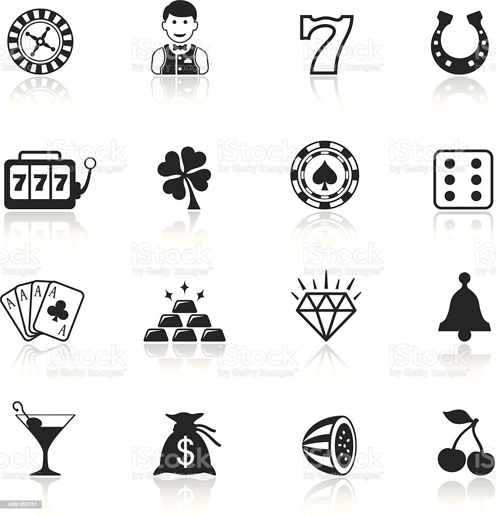 Black and white casino icon sets vector art illustration