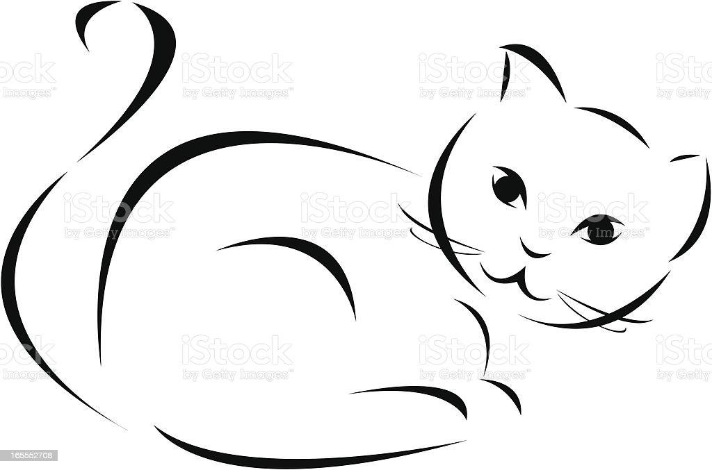 black and white cat vector art illustration