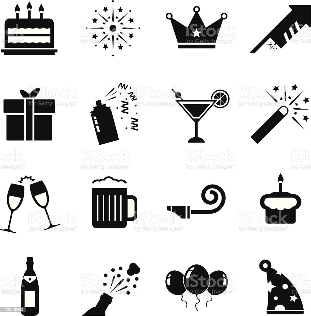 Black and white celebration icons vector art illustration