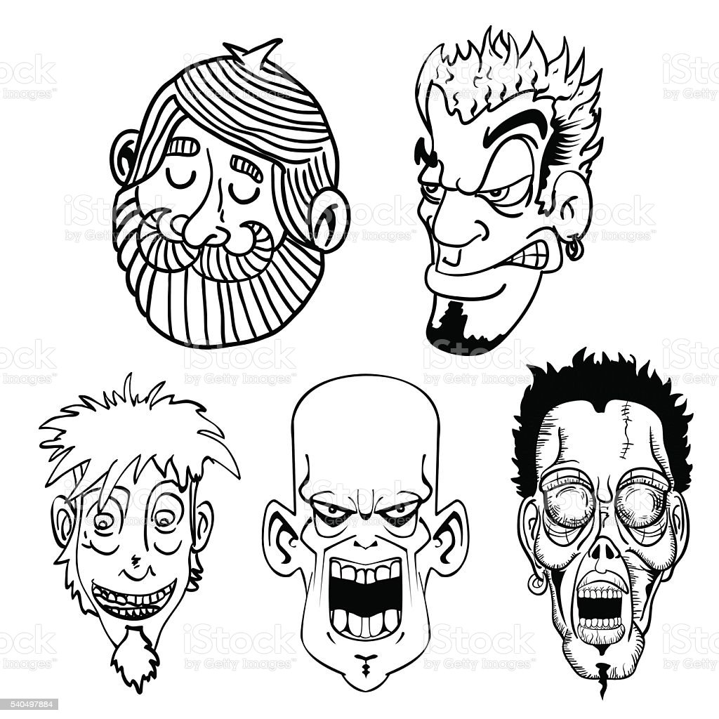 black and white character face set vector art illustration