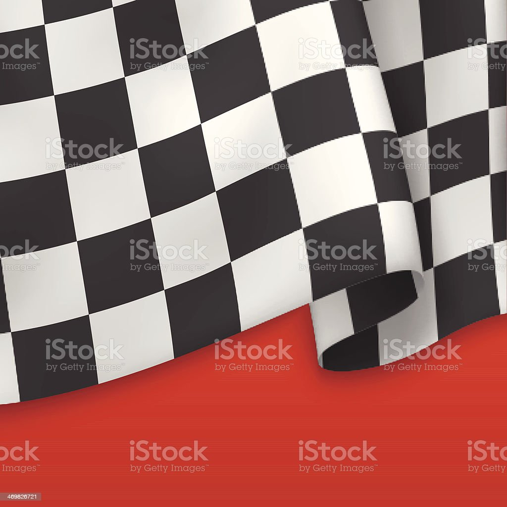 Black and white checkered flag and red underneath vector art illustration