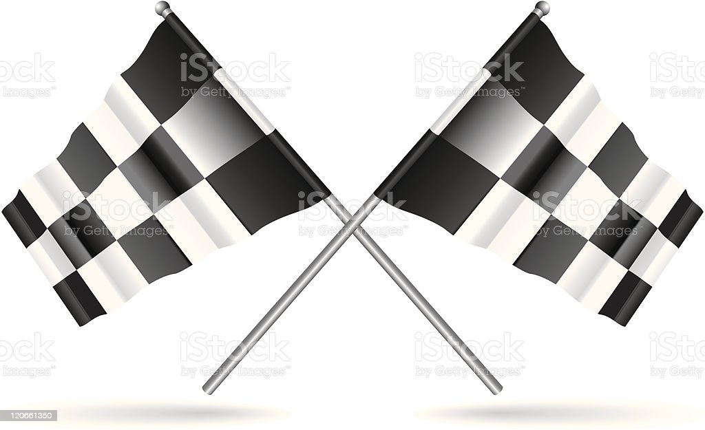 Black and white checkered flags vector art illustration