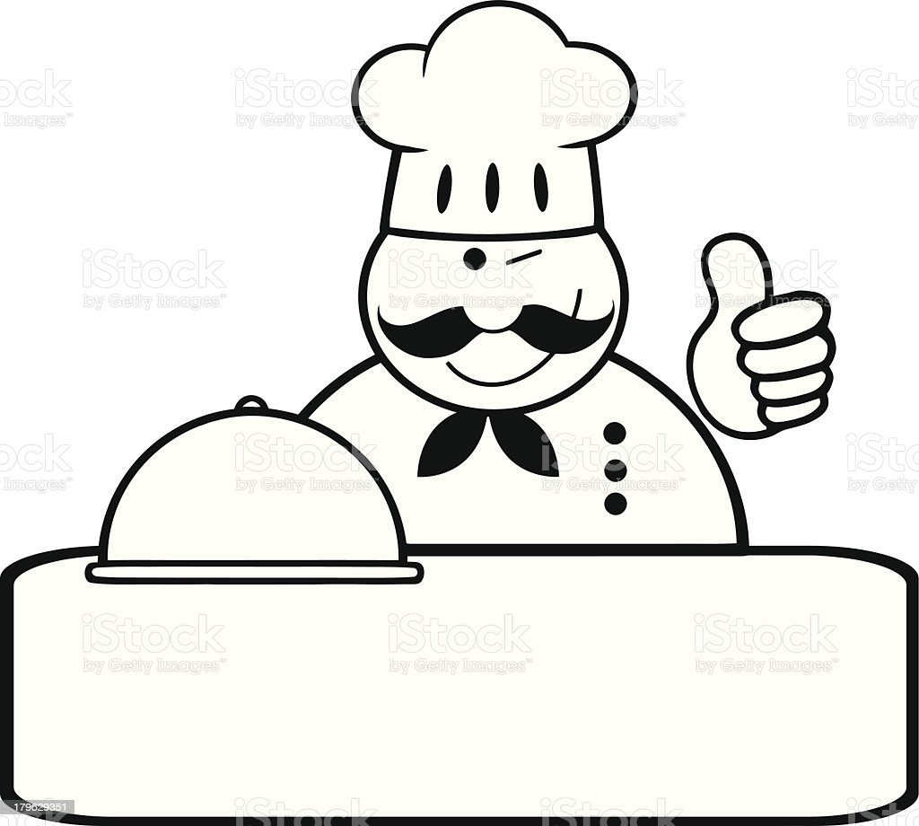 Black and White Chef Logo Banner Showing Thumbs Up royalty-free stock vector art