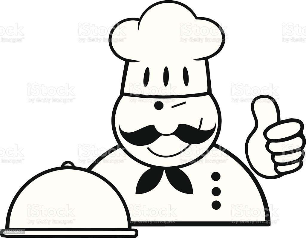 Black and White Chef Logo With Platter Showing Thumbs Up royalty-free stock vector art