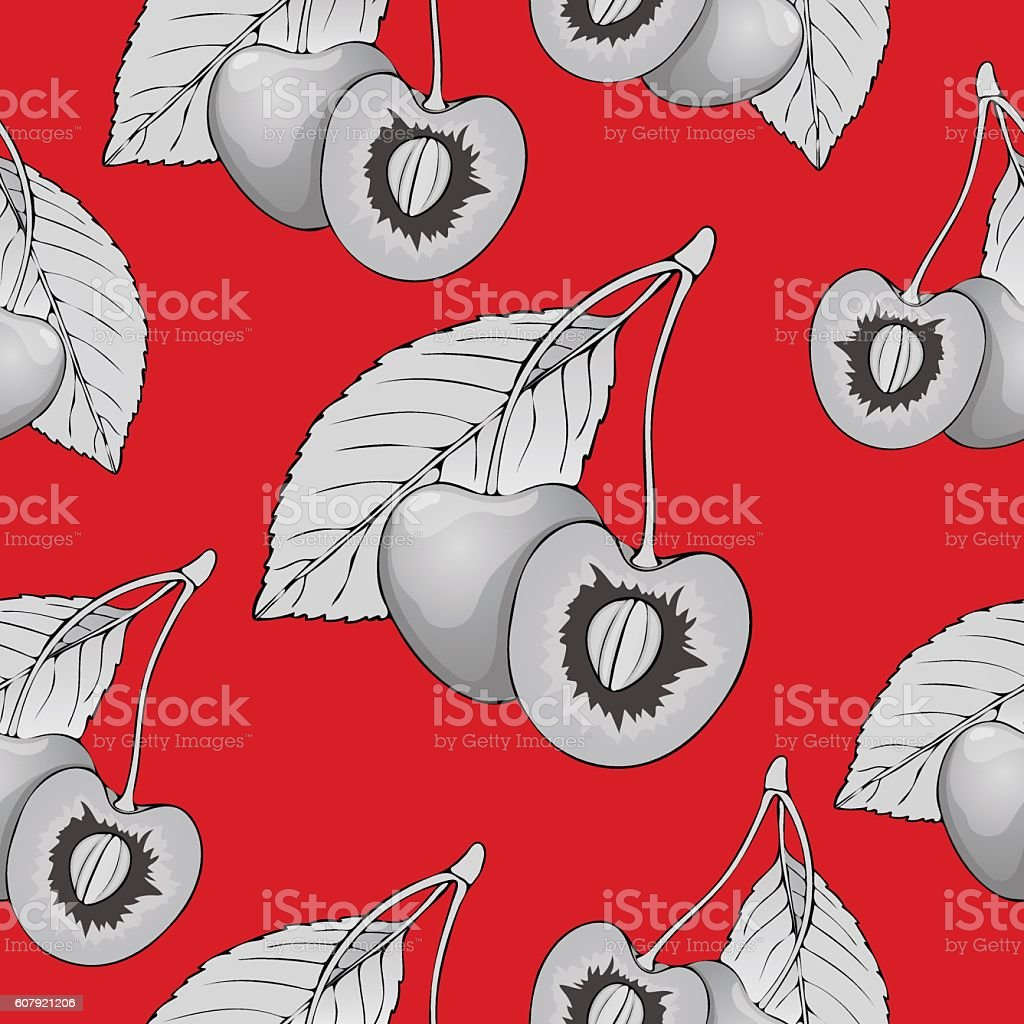 Black and white cherries with pits on a red background vector art illustration