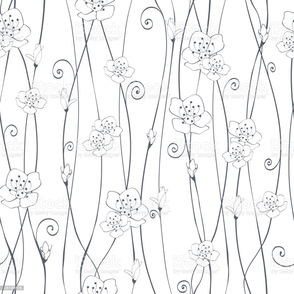 Black and white cherry blossom branches royalty-free stock vector art