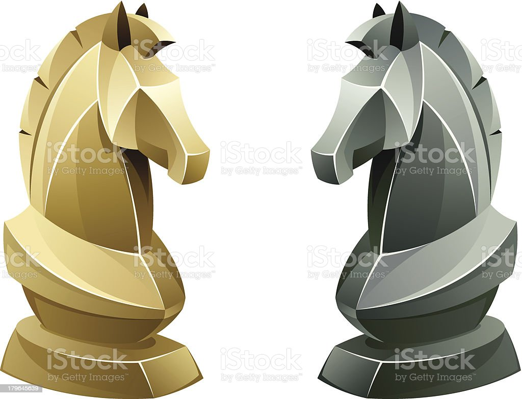 Black and white chess knight vector art illustration