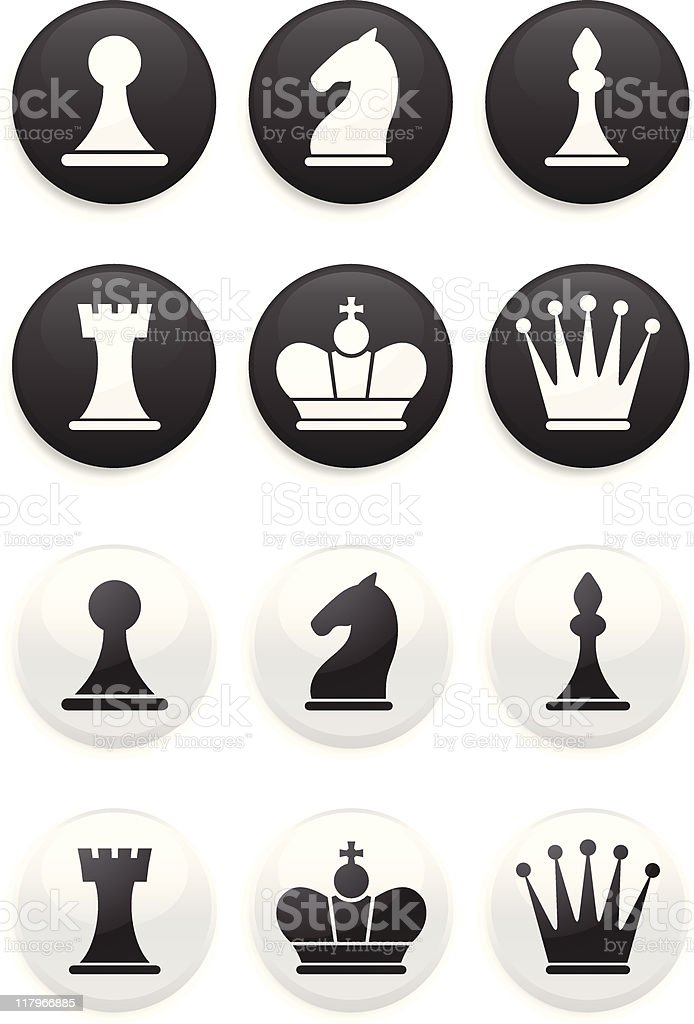 black and white Chess set on round buttons vector art illustration