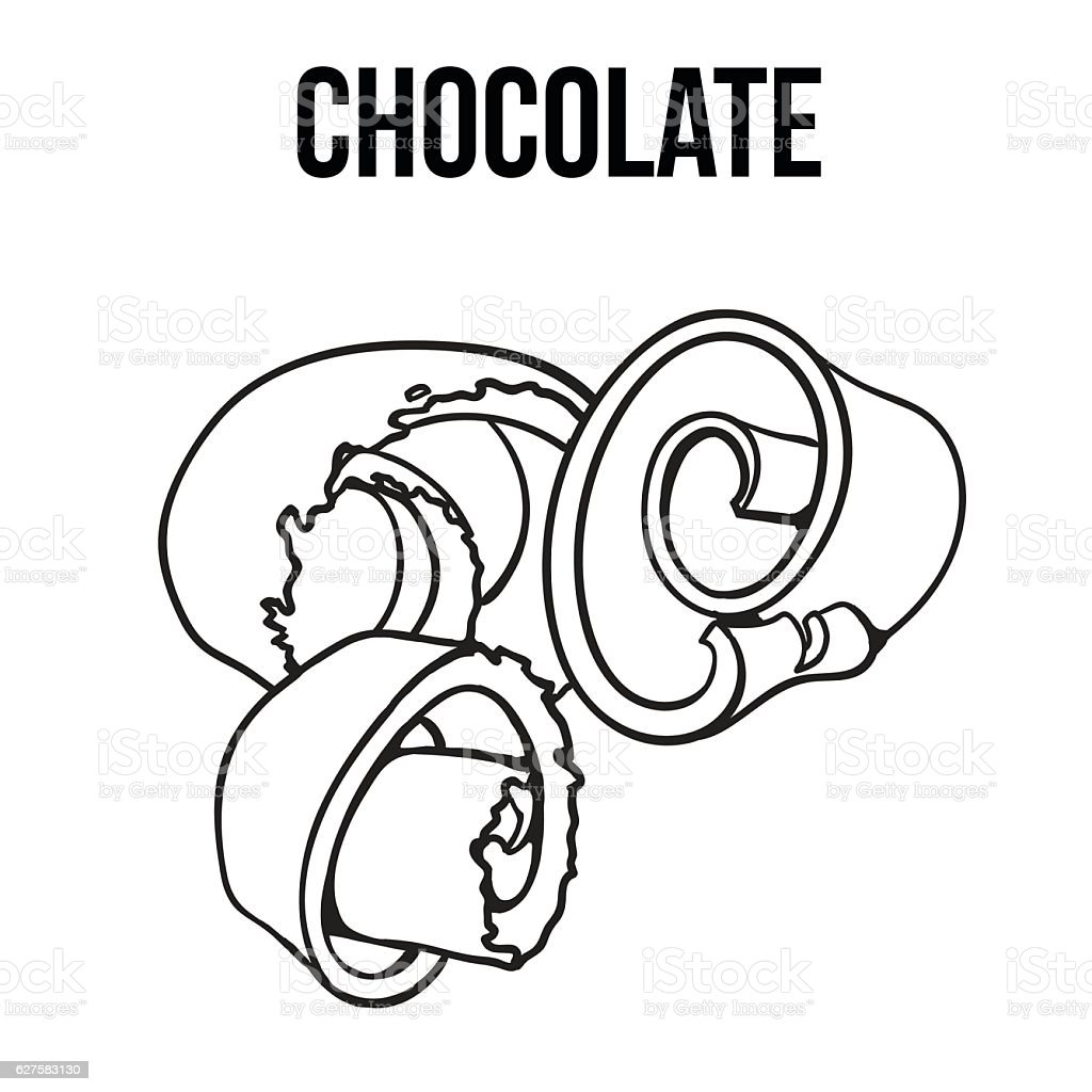 black and white chocolate shaving, curl, spiral for cake decoration vector art illustration