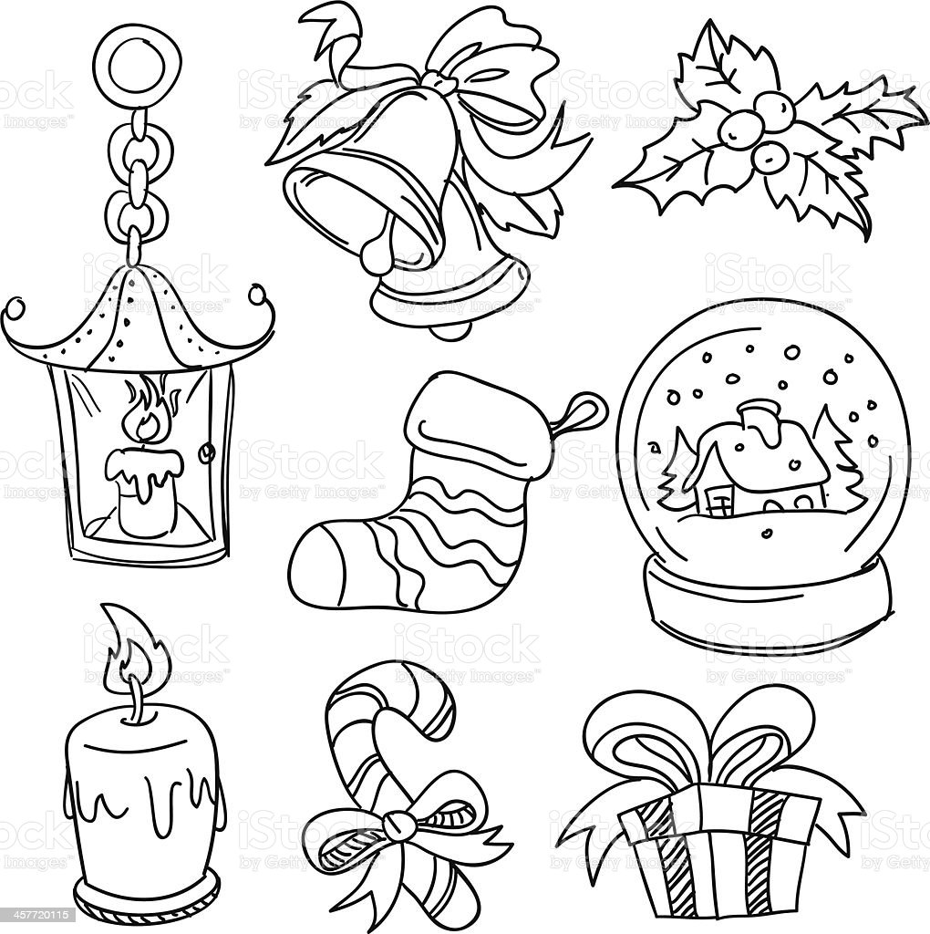 Black and white Christmas collection sketches royalty-free stock vector art