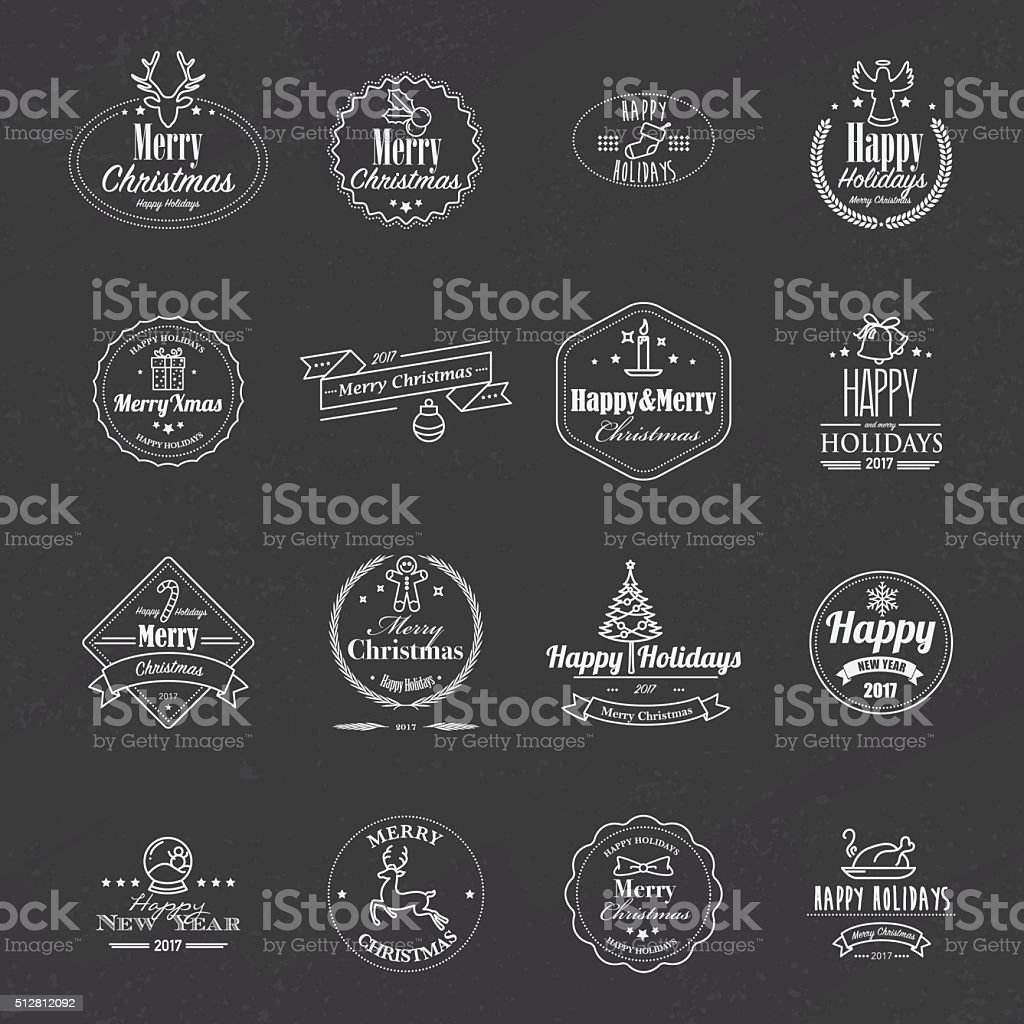 Black and white christmas stamps with lineart icons vector art illustration