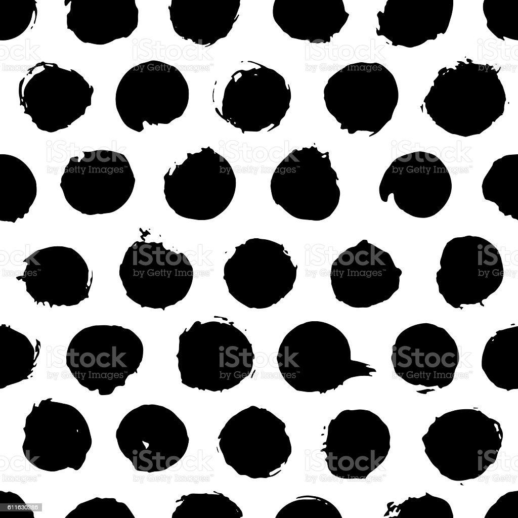 Black and white circle brush stroke seamless pattern vector art illustration