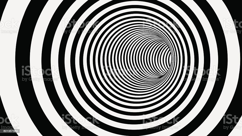 Black and White Circle Striped Abstract Tunnel vector art illustration