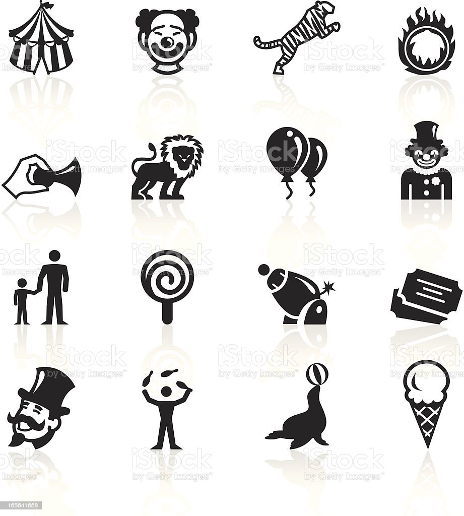 Black and white circus related icons vector art illustration