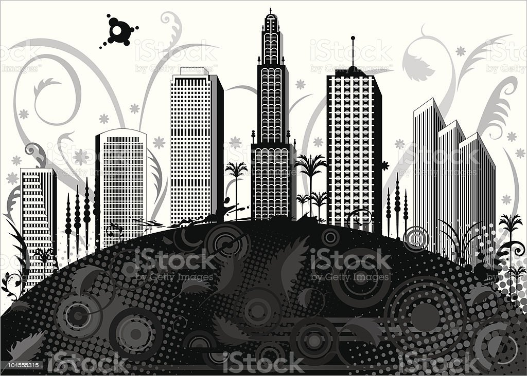 black and white city royalty-free stock vector art
