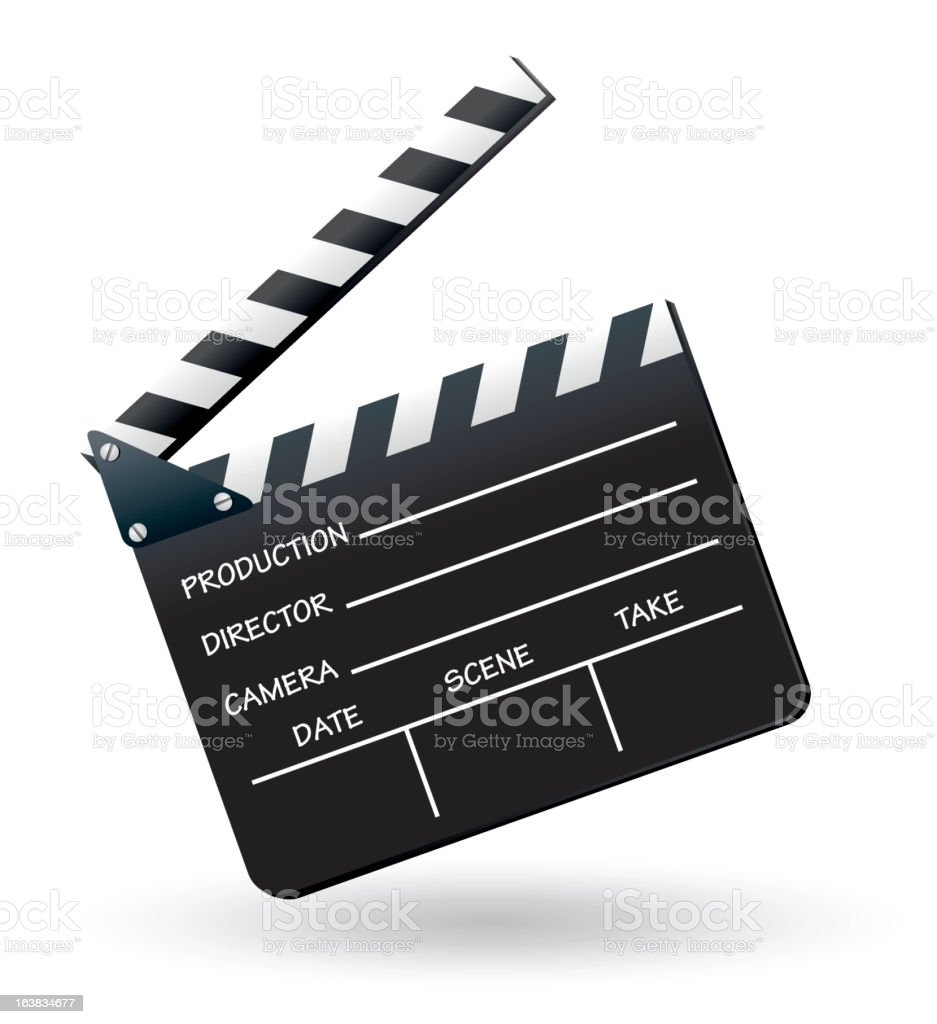 A black and white clapboard on plain background vector art illustration