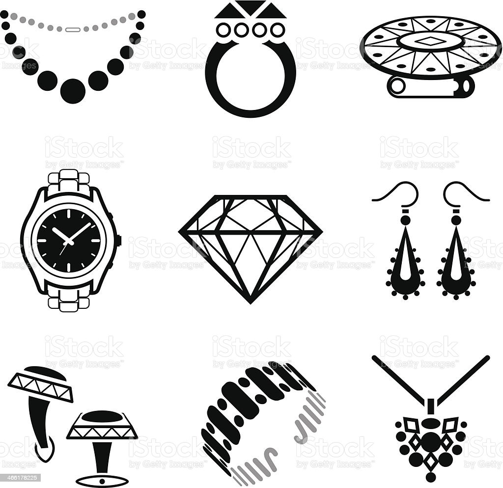 Black and white clip art jewelry images vector art illustration
