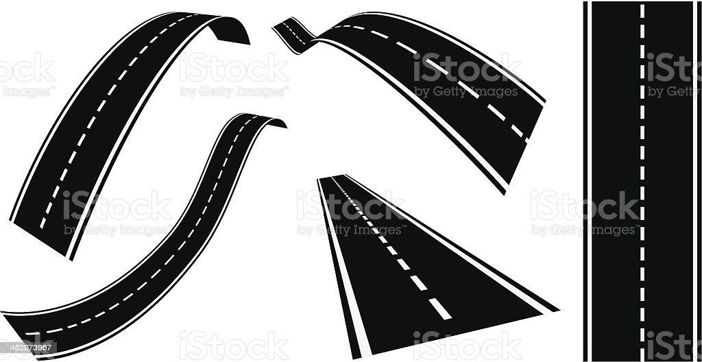 Black and white clip art of highways vector art illustration
