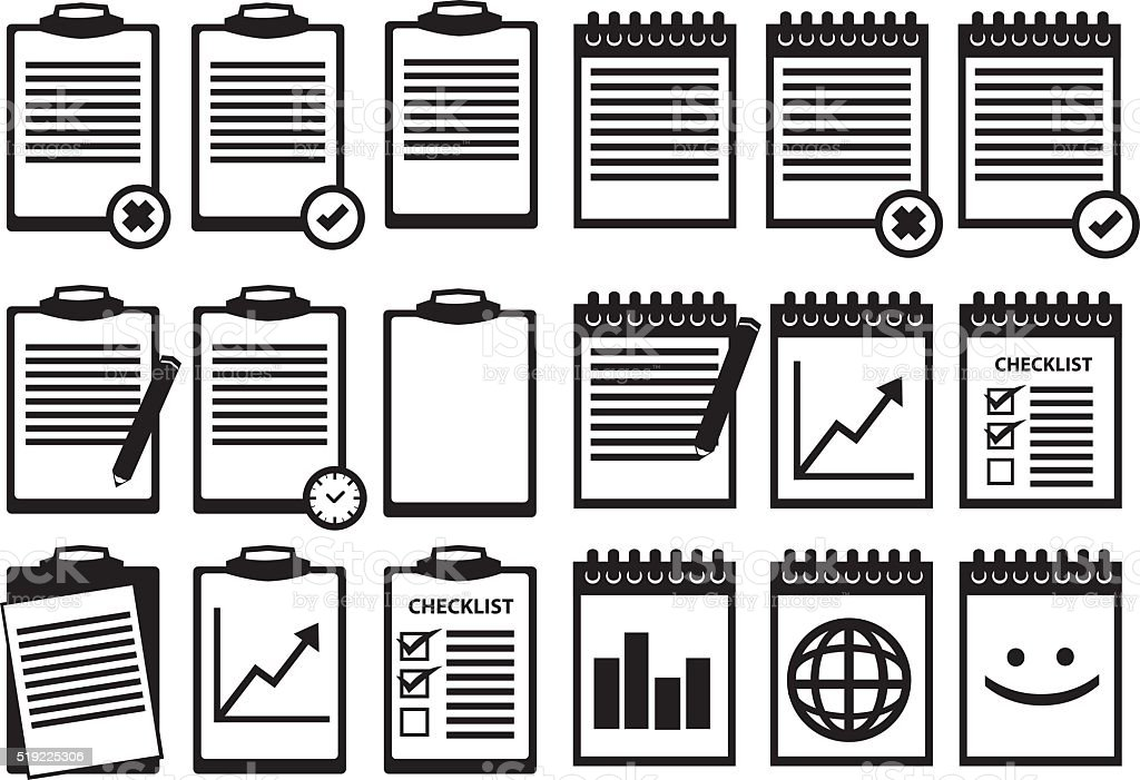 Black and White Clipboard Notebook Vector Icon Set vector art illustration