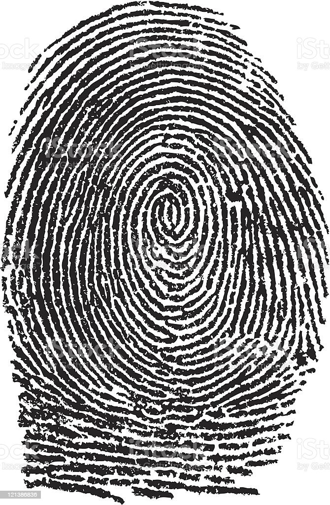 Black and white close up of a fingerprint vector art illustration