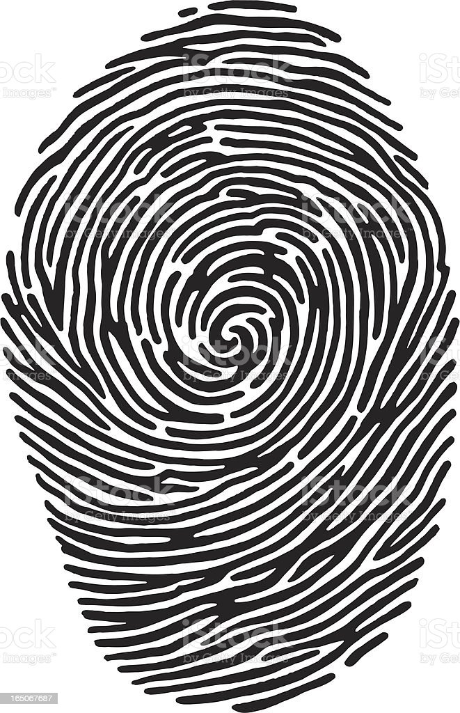A black and white close-up image of a fingerprint royalty-free stock vector art