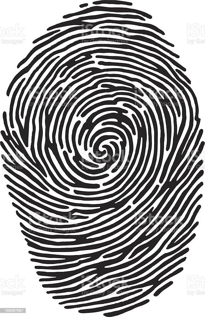 A black and white close-up image of a fingerprint vector art illustration