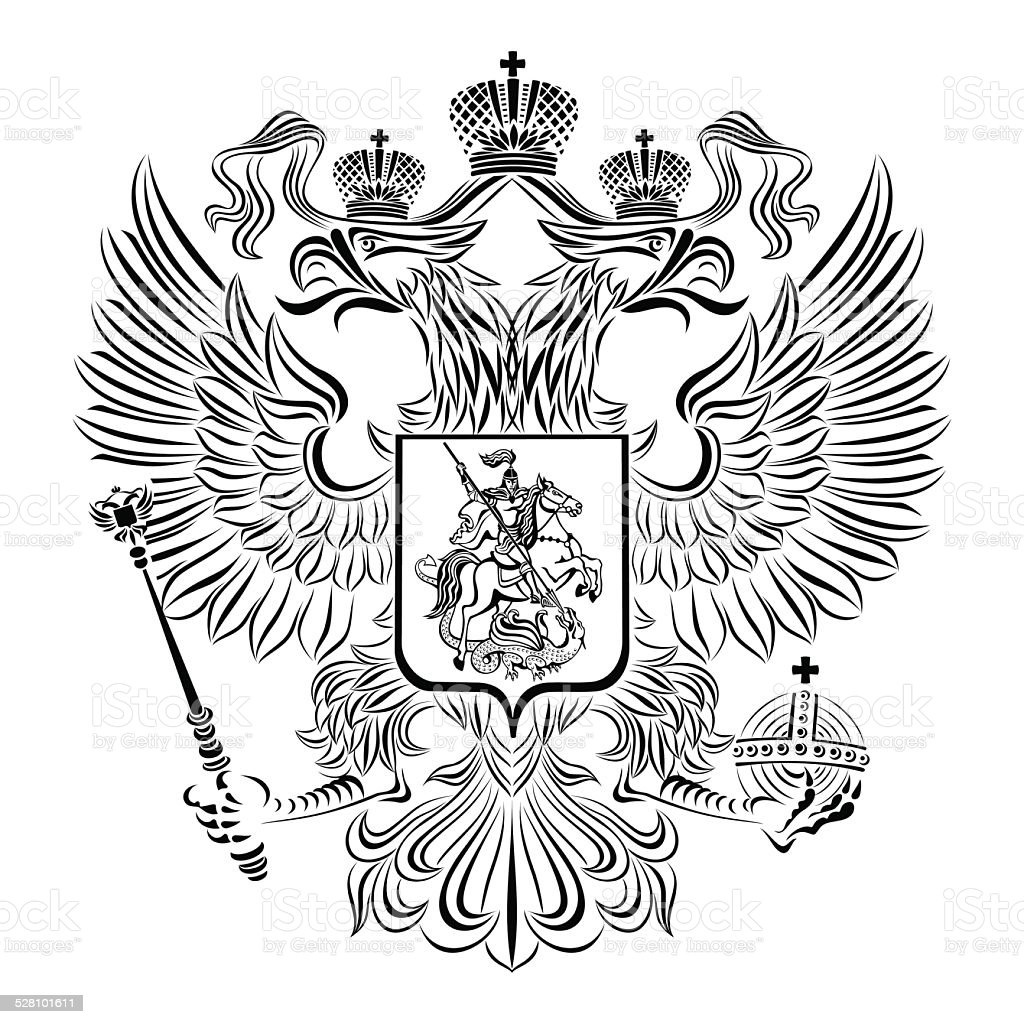 Black and white coat of arms of the Russian Federation vector art illustration