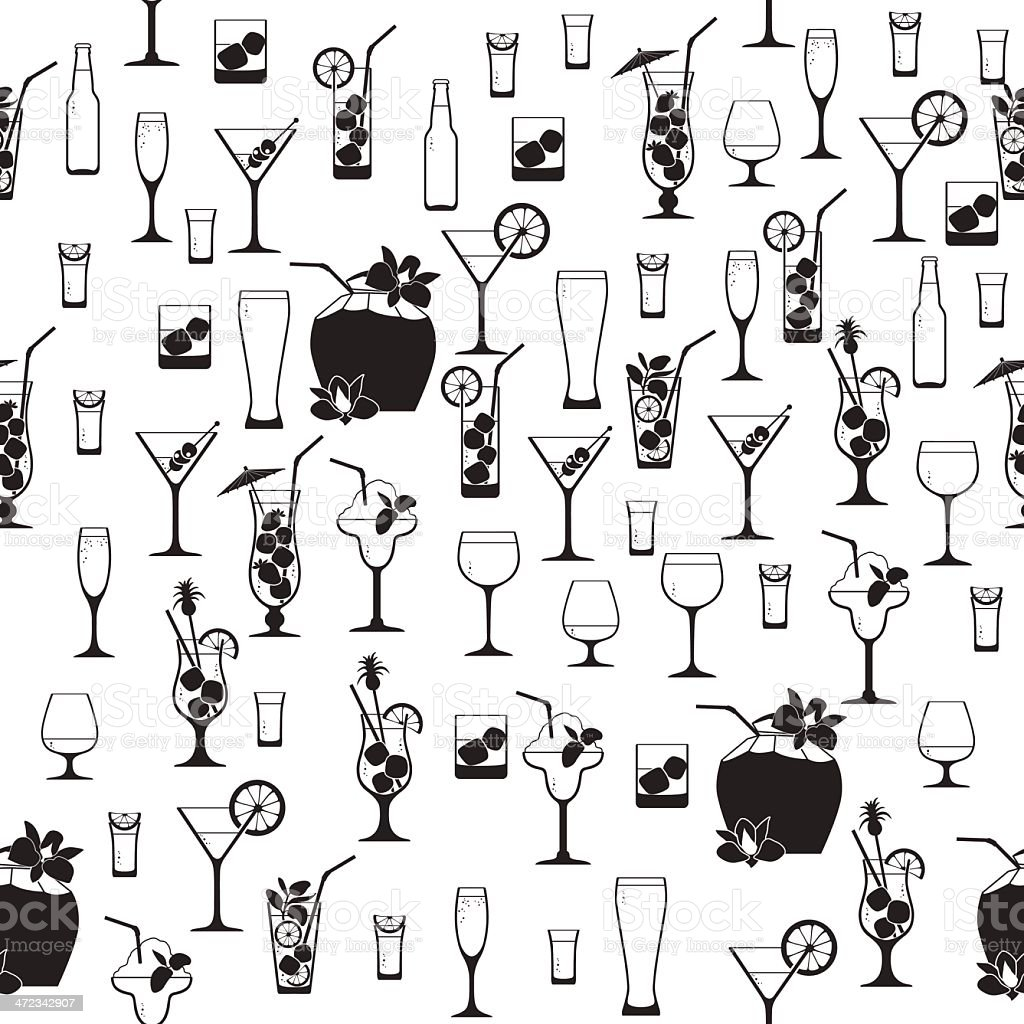 Black and white cocktail pattern royalty-free stock vector art