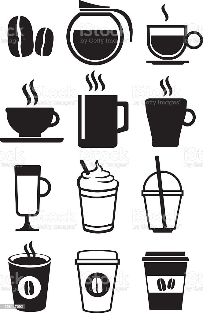 Black and White Coffee Beverages Vector Icon Set vector art illustration