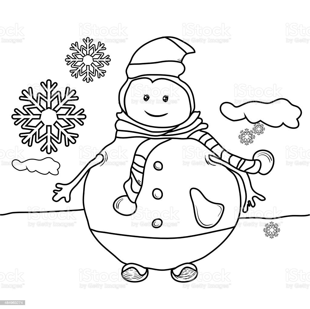 black and white coloring page outline of a snowman stock vector