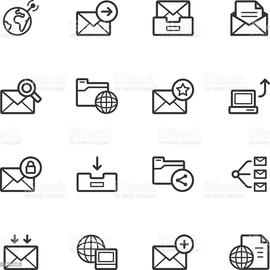 Black and white communication icon set royalty-free stock vector art