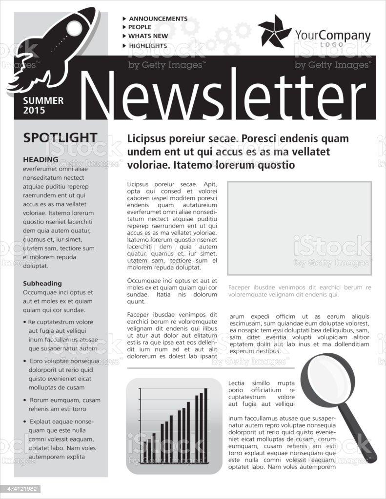 Black and white Company newsletter design flyer template vector art illustration