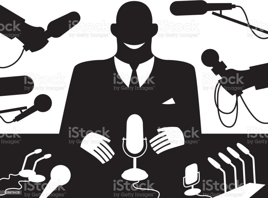 Black and white computer image of press conference royalty-free stock vector art