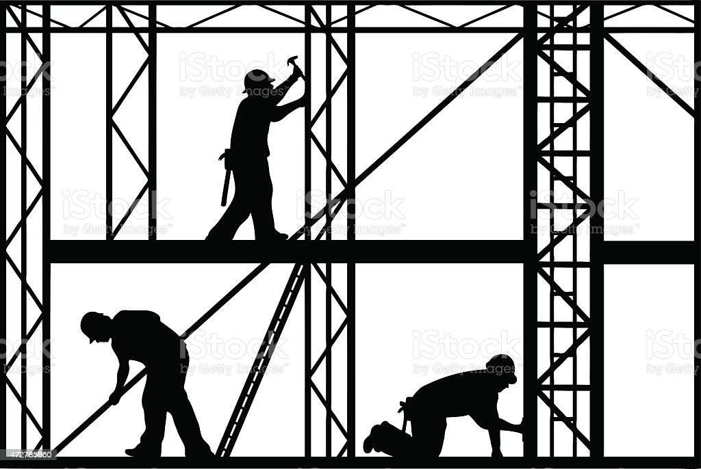 Black and white construction workers silhouette vector art illustration