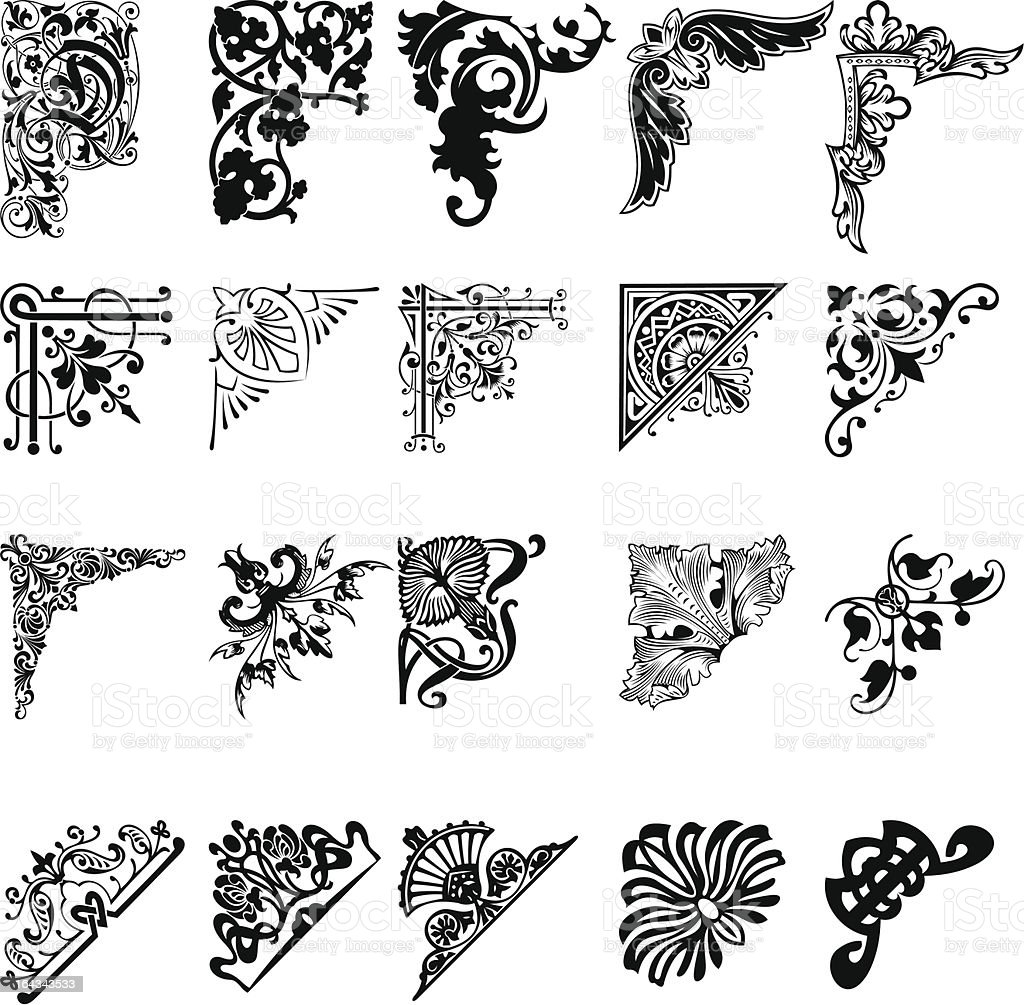 20 black and white corner patterns  royalty-free stock vector art