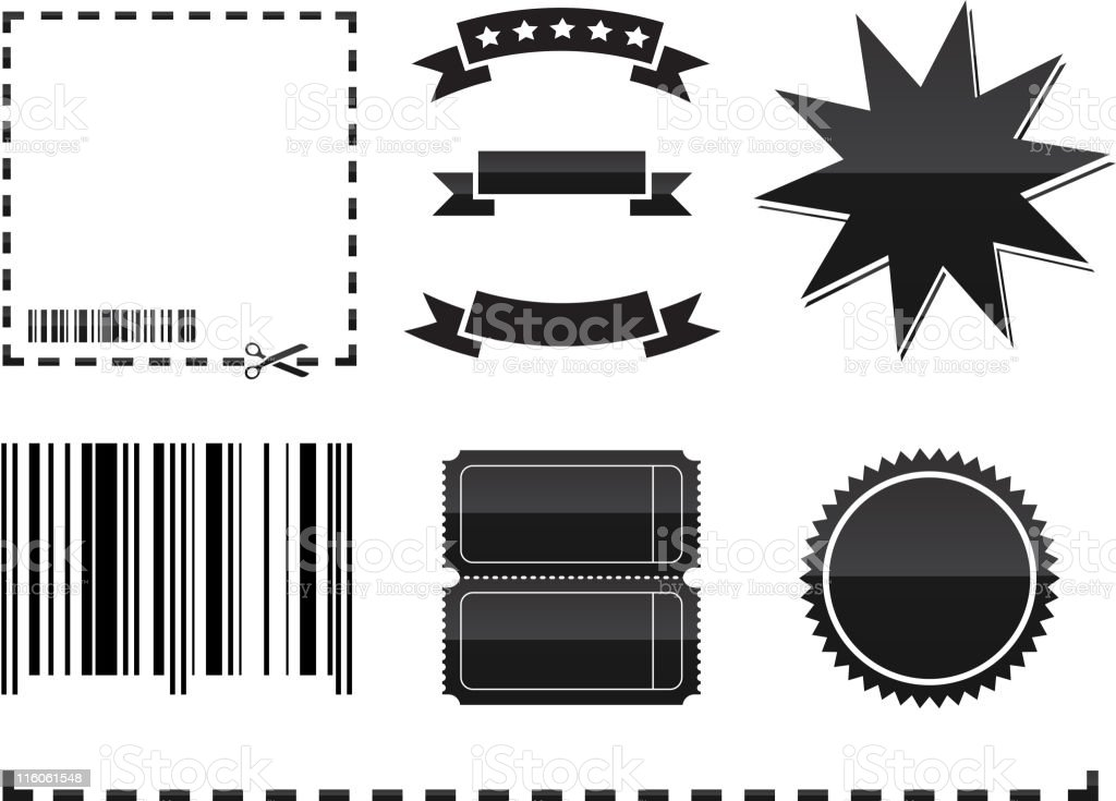 Black and white coupon elements vector art illustration