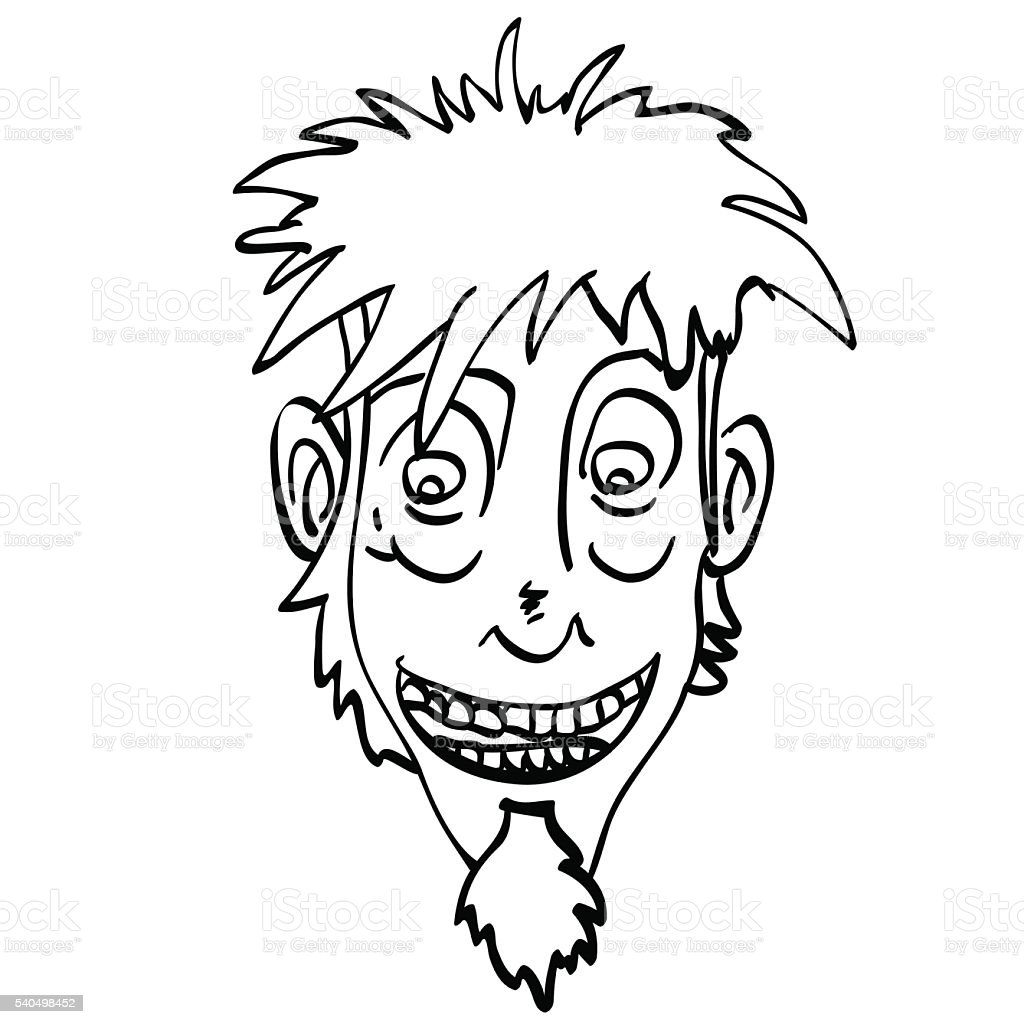 black and white crazy face vector art illustration