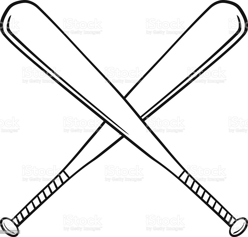 black and white crossed baseball bats stock vector art 503237955