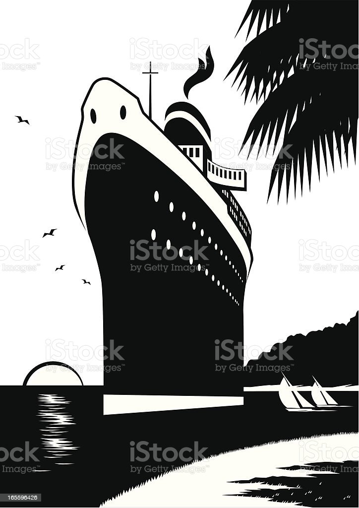 Black and white cruise ship vector art royalty-free stock vector art