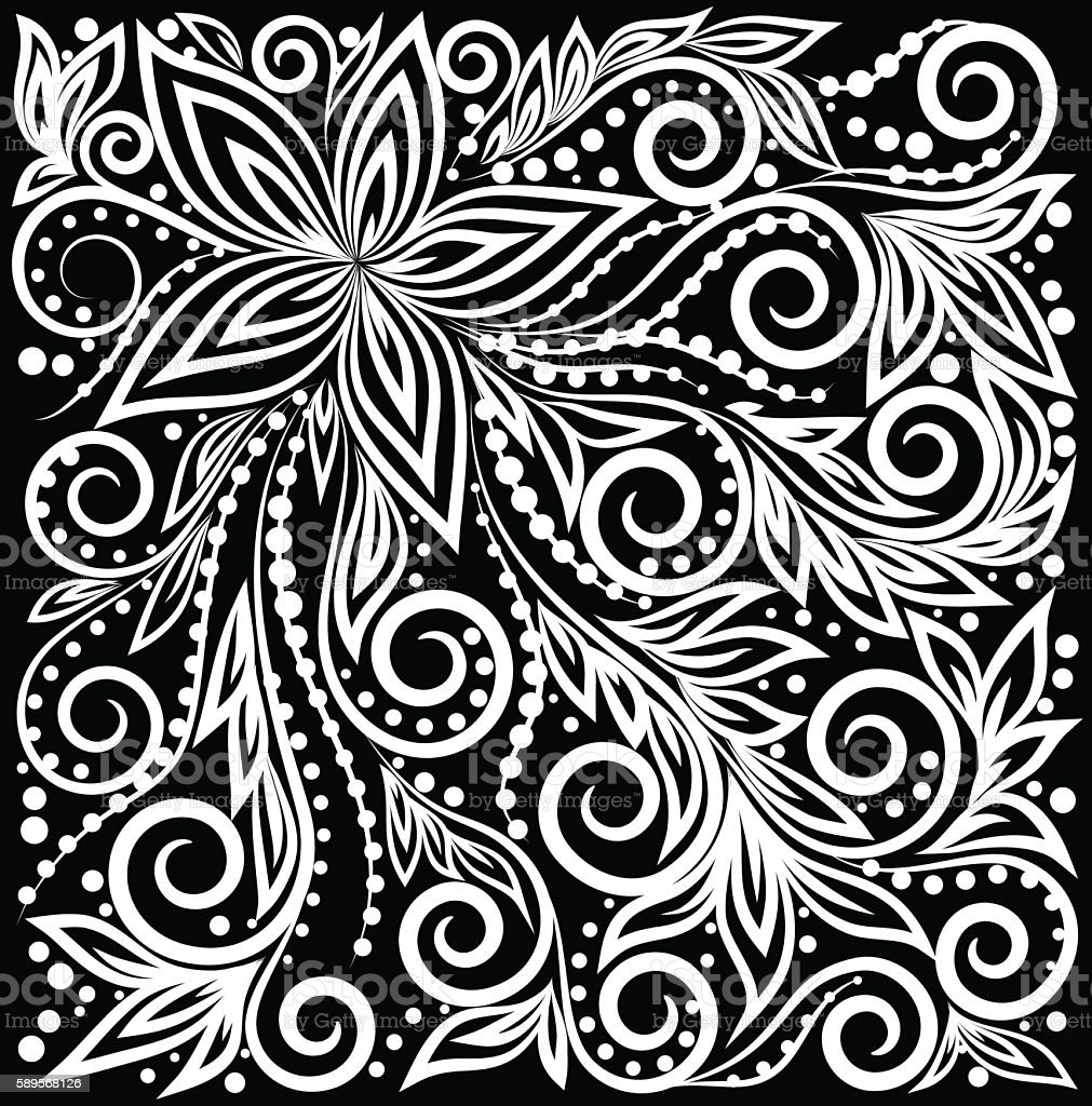 black and white curly background with flowers royalty-free stock vector art