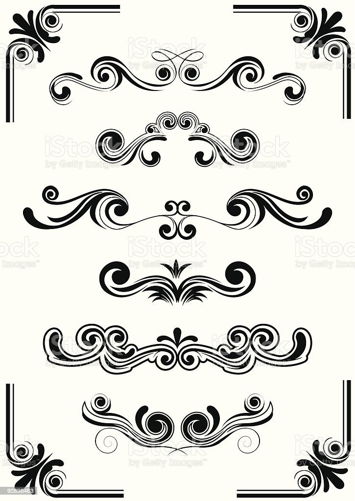 Black and white curved design elements royalty-free stock vector art