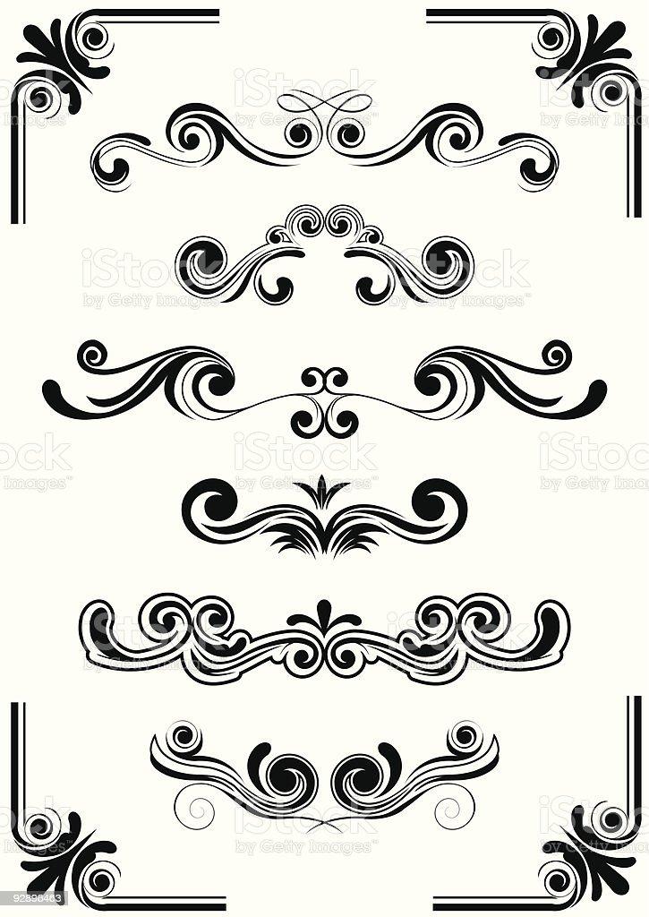 Black and white curved design elements vector art illustration