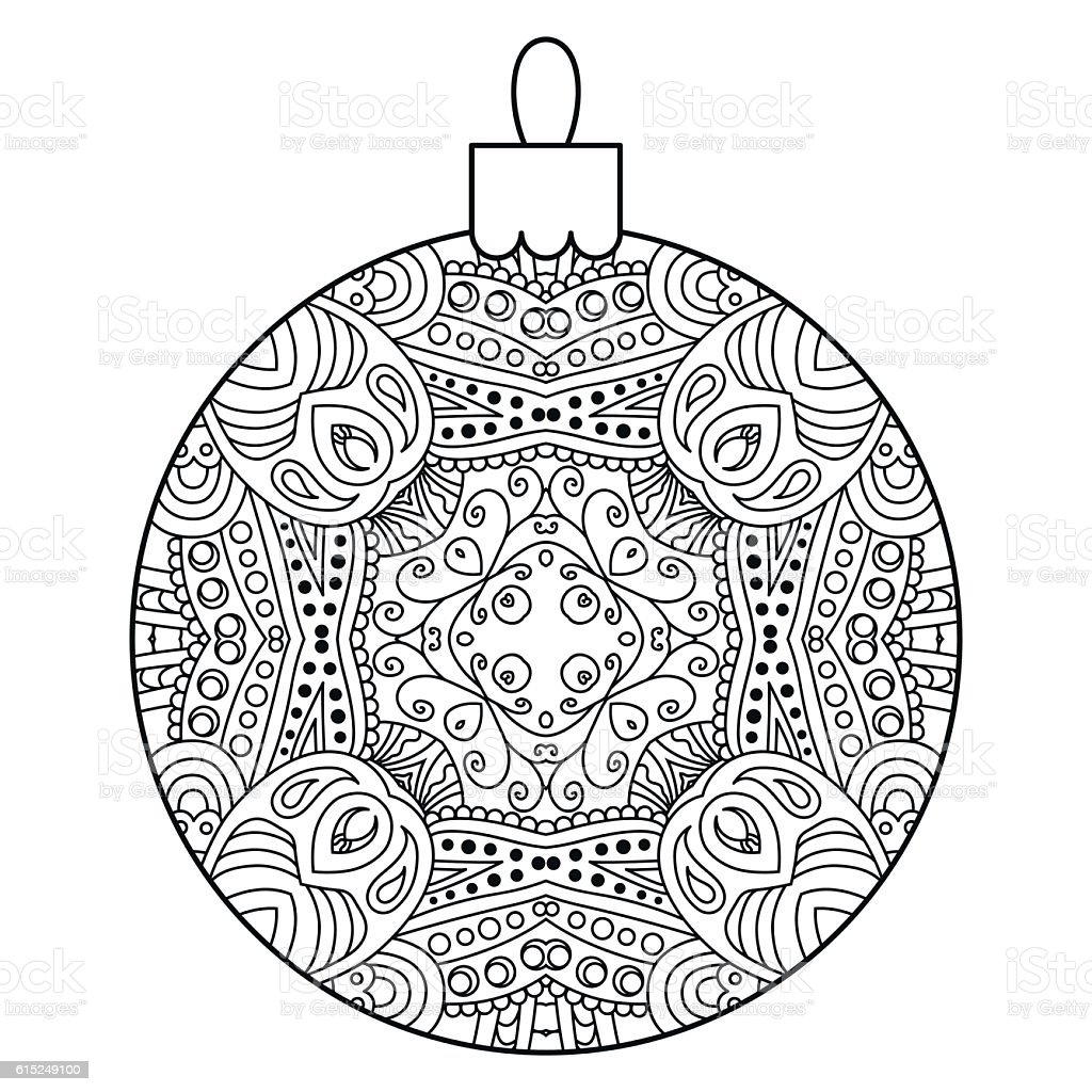 Black and white decorative Christmas ball. vector art illustration