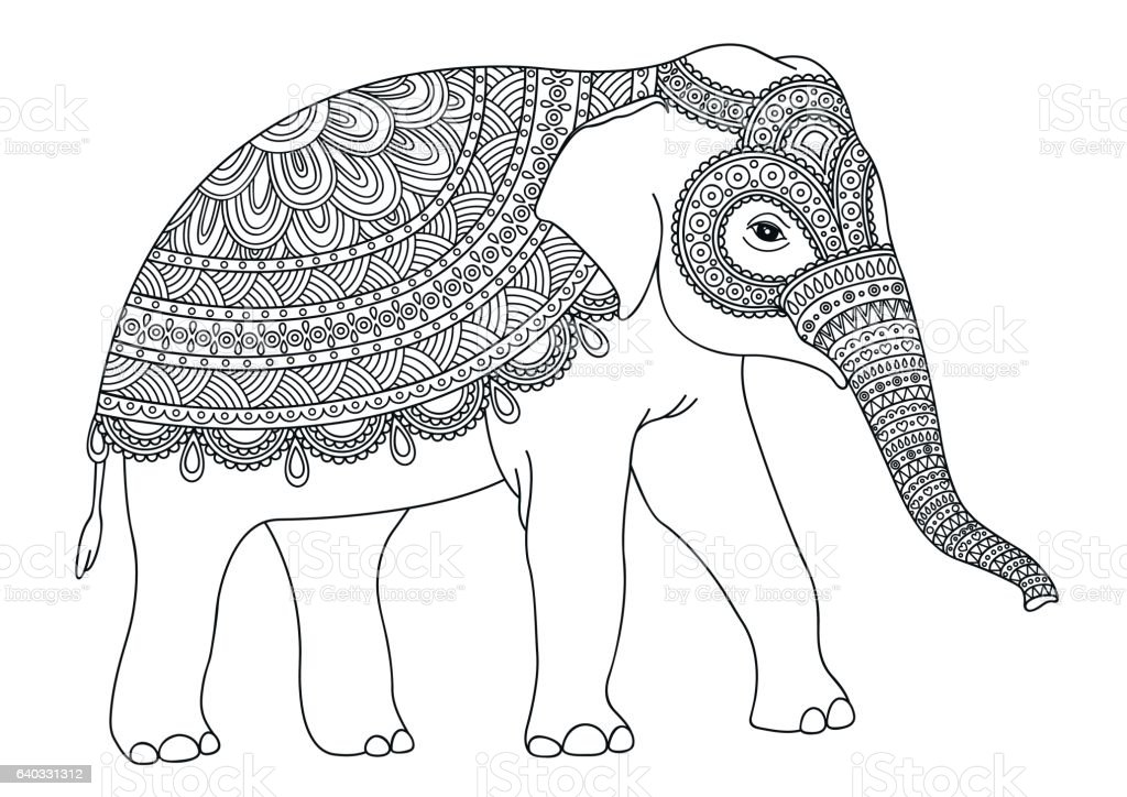 Black and white decorative elephant. vector art illustration