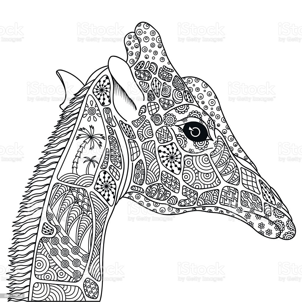 Black and white decorative giraffe. vector art illustration