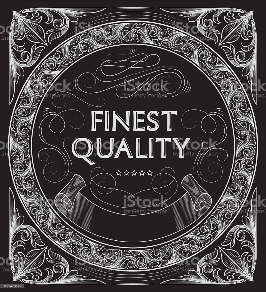 Black and white decorative vintage design vector art illustration